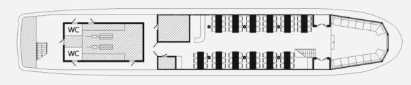 Схема теплохода Москва 125- нижняя палуба