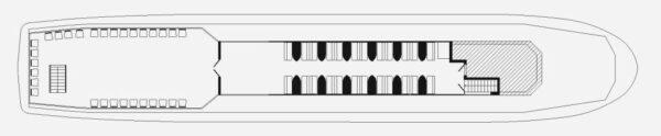 Схема теплохода Москва 125- верхняя палуба